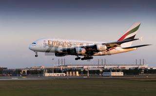 A 380 emirate München franz josef strauß Flughafen