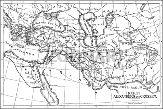 Historical map of the Empire of Alexander the Great