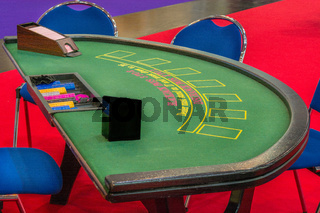 Green Black Jack table with chips
