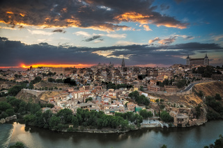 Panoramic view of Toledo at dusk, Castile-La Mancha, Spain