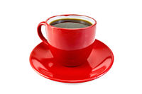 Coffee in red cup with saucer