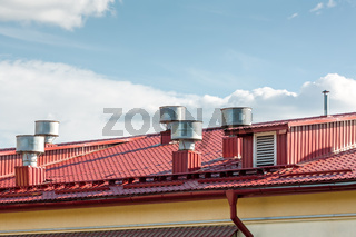industrial metal roof with ventilation system