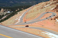 Beautiful serpentine road winding up to the Pikes Peak Mountain