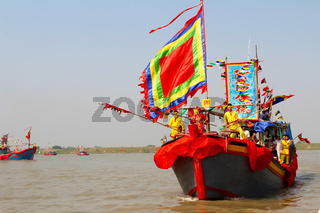 Performed traditional boat on the river