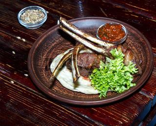Grilled lamb ribs .