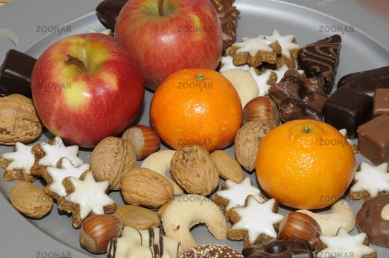 Christmas cookies and fruit