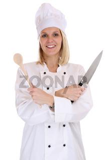 Koch junge Köchin kochen Beruf Frau Freisteller