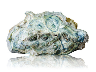 Blue agate stone isolated on white background.