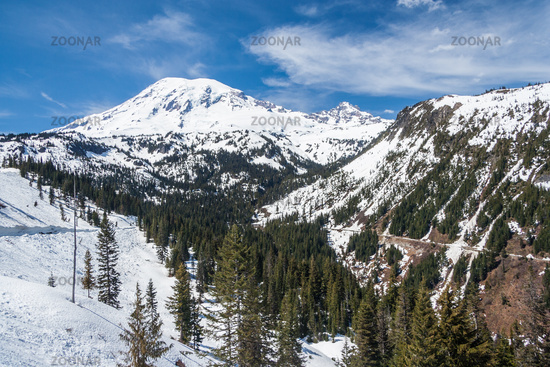 Road to Mount Rainier summit covered by snow Washington USA