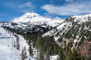 Road to Mount Rainier summit covered by snow Washington USA