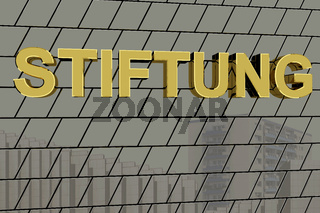 House facade with golden lettering 'FOUNDATION'