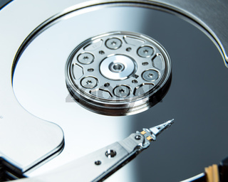 Close up of open computer hard disk drive