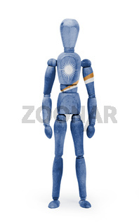Wood figure mannequin with flag bodypaint - Marshall Islands