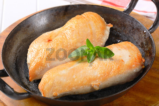 Seared chicken breast fillets