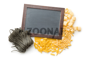various pasta and chalkboard