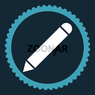 Pencil flat blue and white colors round stamp icon