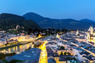 Salzburg Austria at dusk