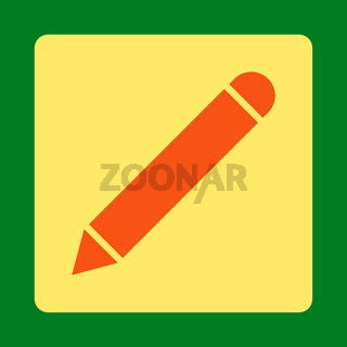 Pencil flat orange and yellow colors rounded button
