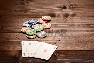 Four aces and chips