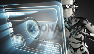 cyborg woman and sperm on hologram display