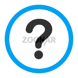 Question flat blue and gray colors rounded vector icon