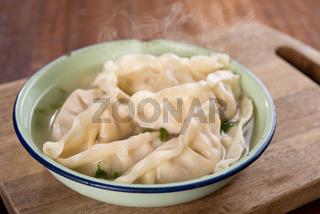 Asian dish dumplings soup