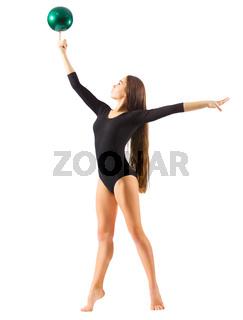 Girl engaged art gymnastic isolated