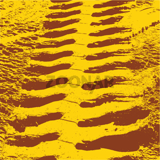 Yellow grunge background with black tire track. Vector illustration.