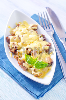 fried meat with mushroom and cheese