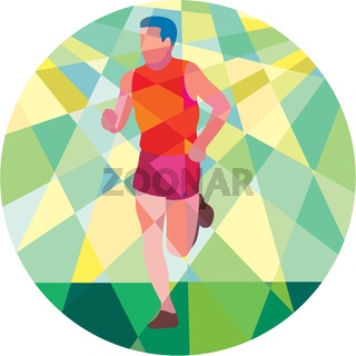 Marathon Runner Running Circle Low Polygon