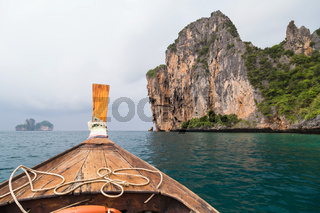 Traditional Thai boat sails to Phi Phi Lee island