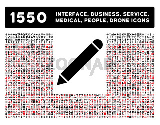 Pencil Icon and More Interface, Business, Tools, People, Medical, Awards Flat Vector Icons