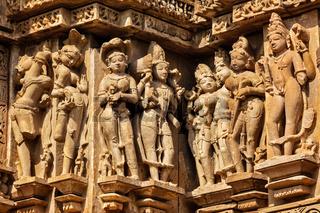 Famous stone carving sculptures of Khajuraho