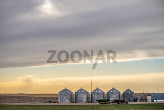 spring farmland before sunset on a cloudy day