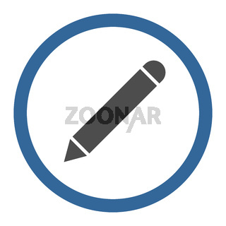 Pencil flat cobalt and gray colors rounded vector icon