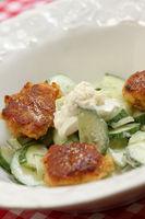 Oatmeal Burger, Cucumber Salad, Horse Radish Dip
