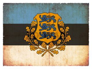 Grunge flag of Estonia with coat of arms