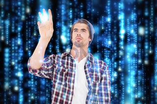 Composite image of man gesturing against white background