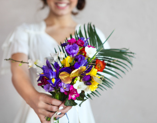 Beautiful wedding bouquet in bride hand