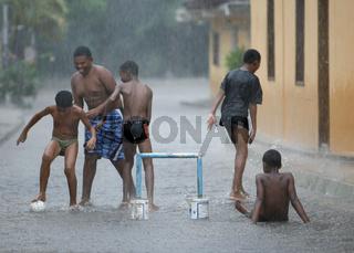 SOUTH AMERICA VENEZUELA CHUAO RAIN SOCCER FOOTBALL