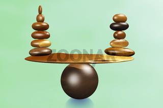 With stones equilibrium through balance