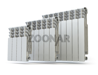 Heating radiators isolated on white background.