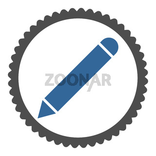 Pencil flat cobalt and gray colors round stamp icon