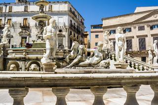 Statues in Piazza Pretoria, Square of Shame at Palermo, Sicily