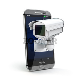 Mobile phone with CCTV camera. Security or privacy concept.