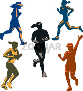 Female Marathon Runners Retro Set
