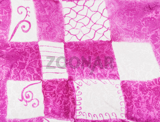abstract pink and white square ornament on batik