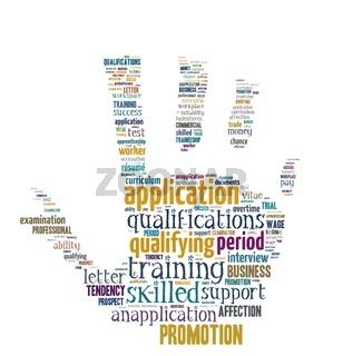 Begriffe rund um Bewerbung und Beruf - Wordcloud freigestellt