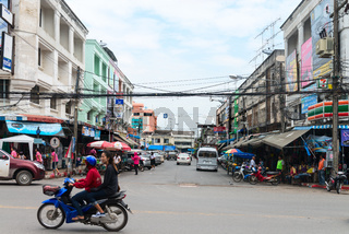 Typical downtown street in central Krabi Town