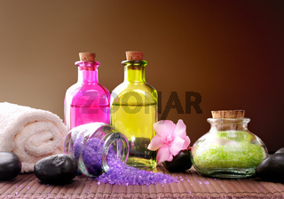 Bath salts and body brown gradient background horizontal composition